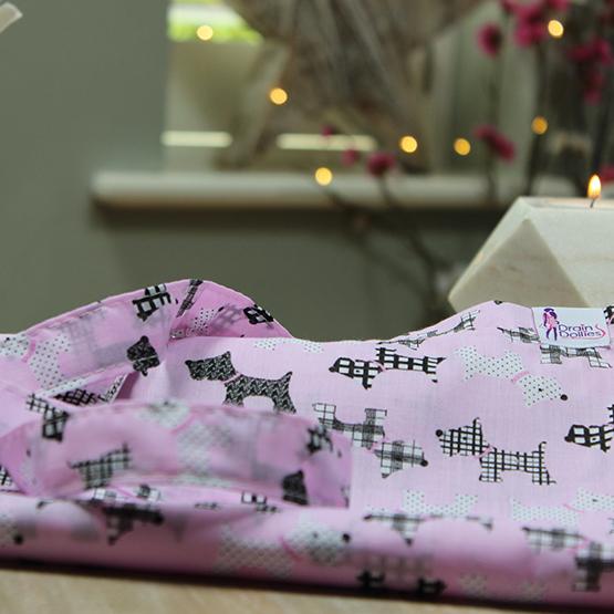 Pink Mono Print Drain Dolly