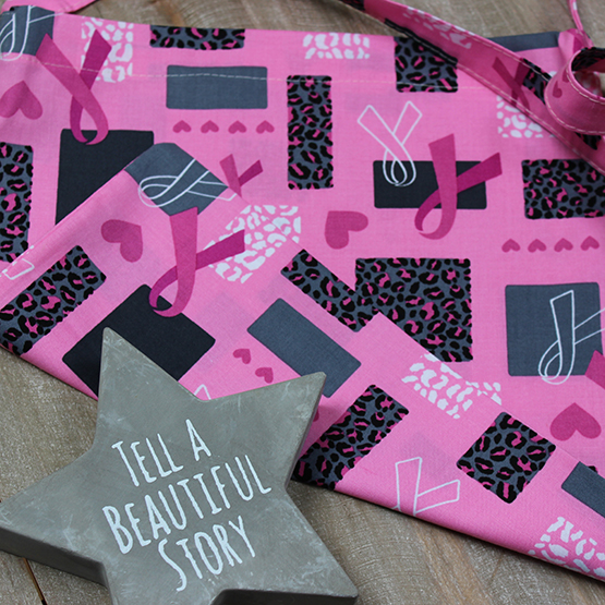 Pink Ribbons Print Drain Dolly