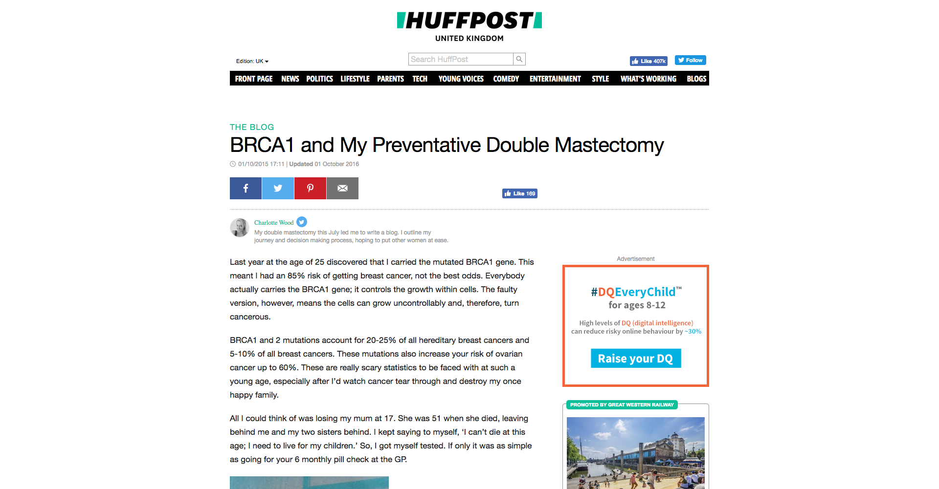 Huffpost Article by Charlotte Wood