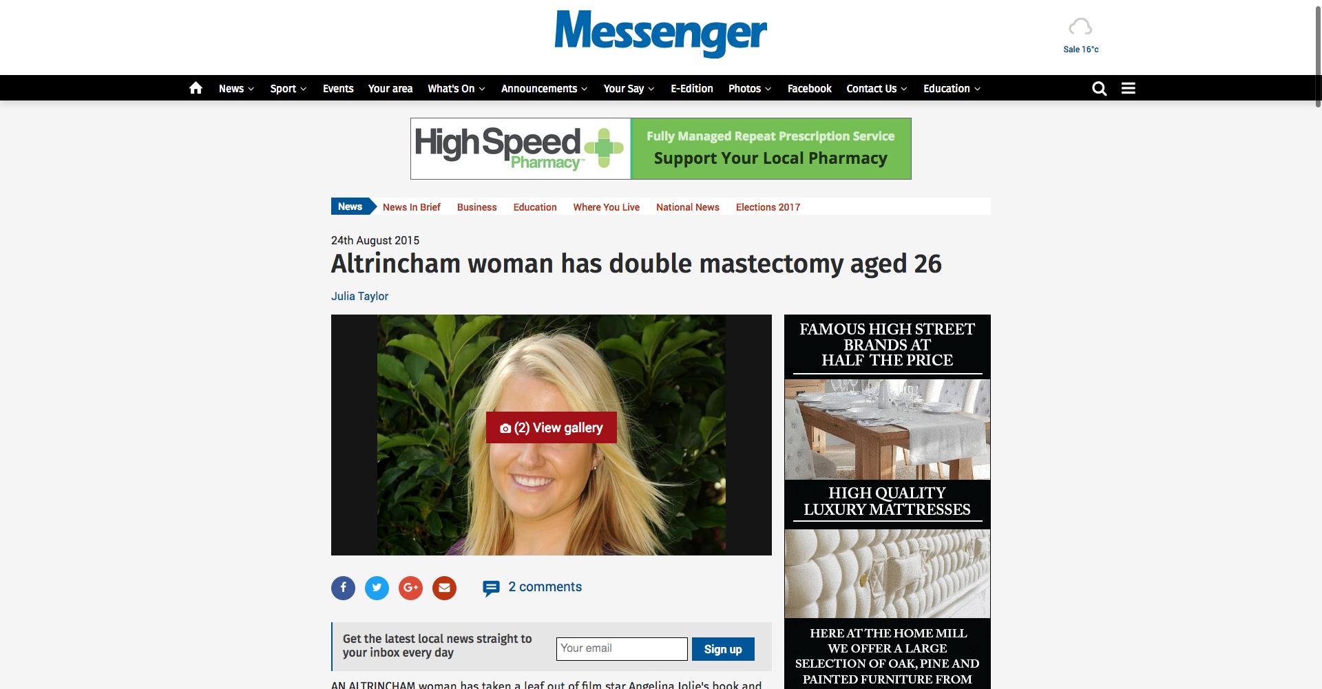 Screenshot of Messenger Newspaper Article