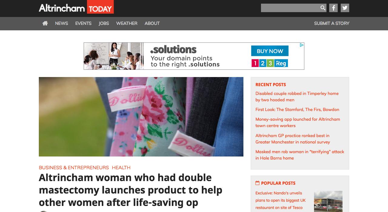 Screenshot of Altrincham Today Article