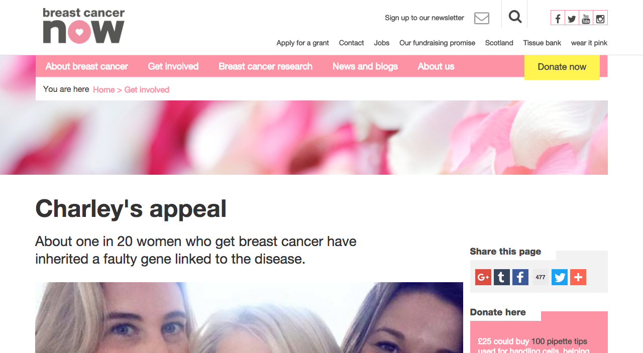 Screenshot of Breast Cancer Now Article About Charley