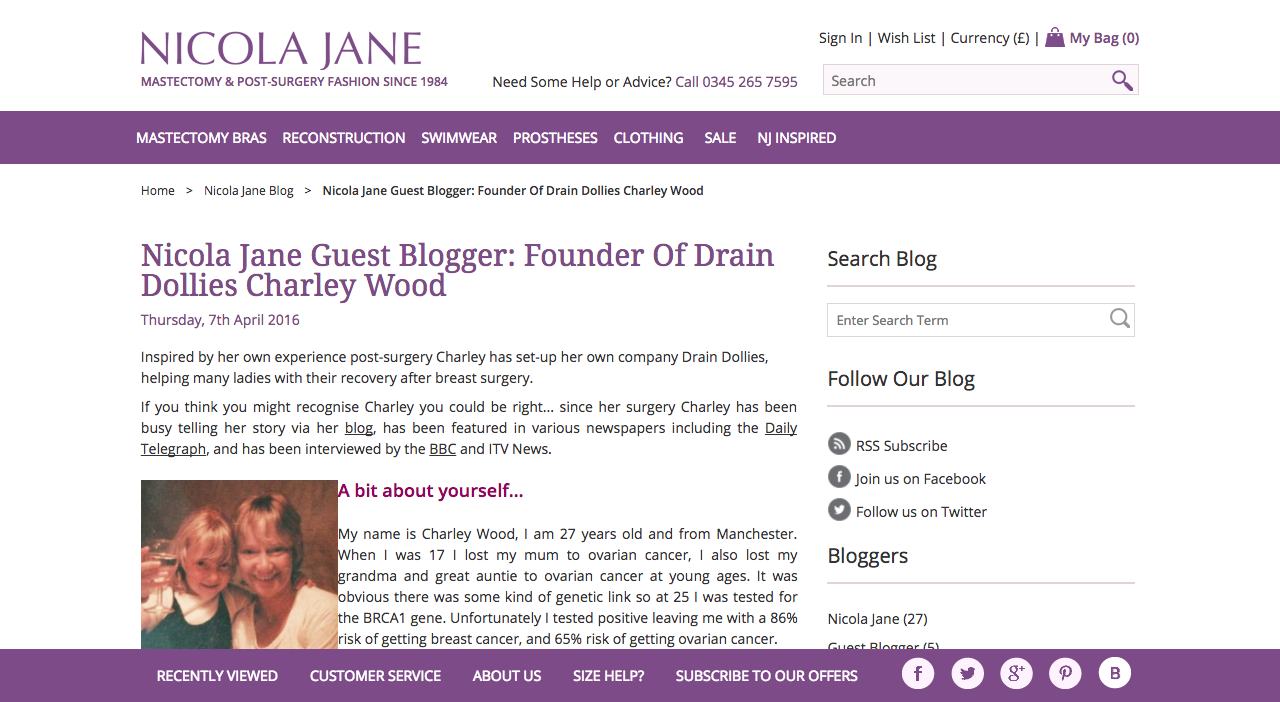 Screenshot of Nicola Jane Blog About Charley
