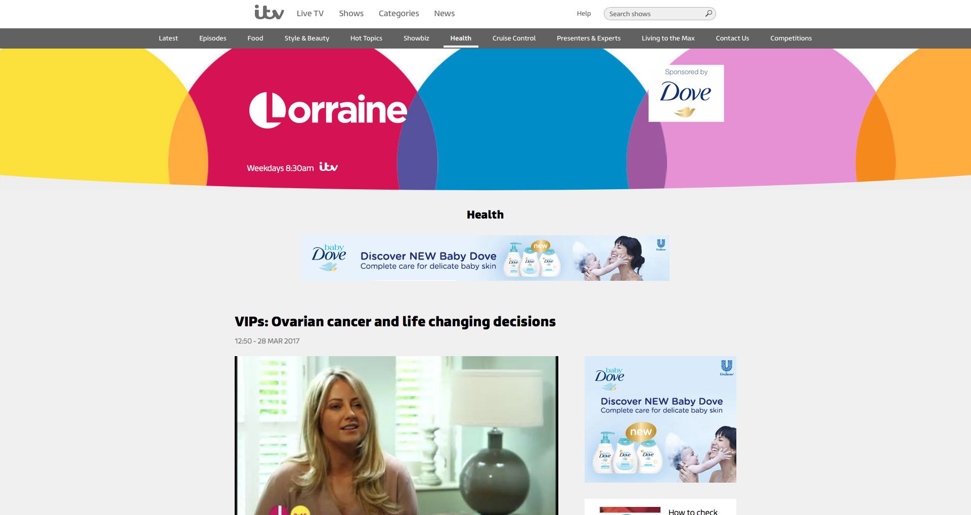 Screenshot of Charlotte on Lorraine